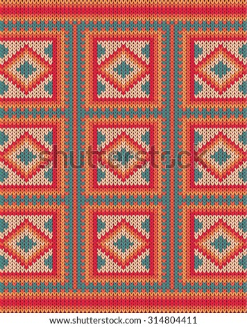 Knitted background pattern with wool sweater texture. Retro textile winter fabric fashion design ornament. Retro decoration illustration. Beige, red, green, blue colors.