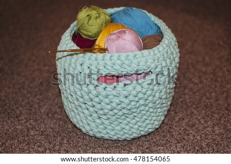 knitted basket with balls of yarn