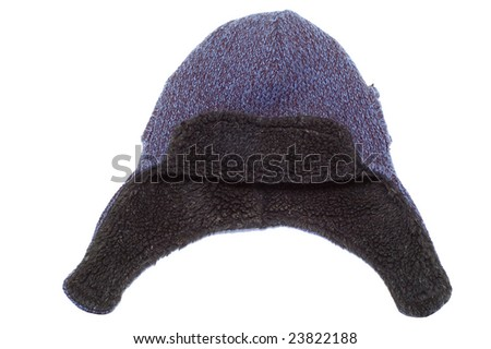 Knitted cap with ears - stock photo