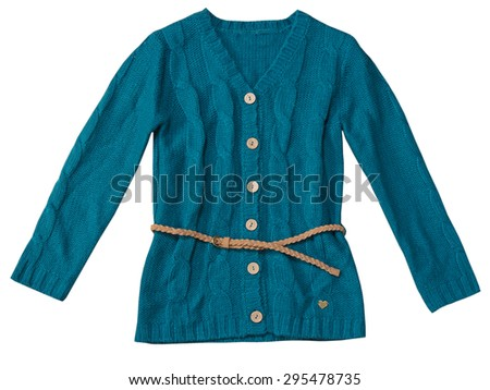 Knitted female teenager top isolated on white.Kid's blue & green fashion cardigan.