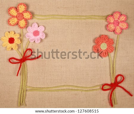 knitted flowers - stock photo