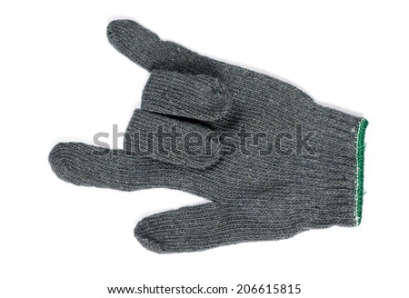 knitted glove shows the signal of love ,isolated on white background