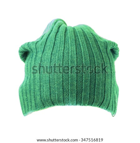 knitted hat isolated on white background .green