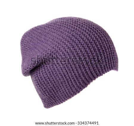 knitted hat isolated on white background .purple