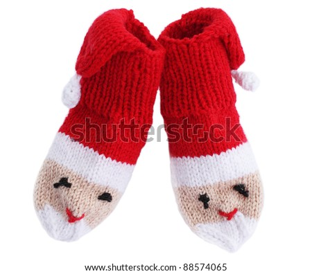 knitted  noses edges in the form Santa Klaus - stock photo