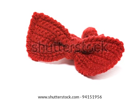 knitted red baby bow tie isolated on white background - stock photo