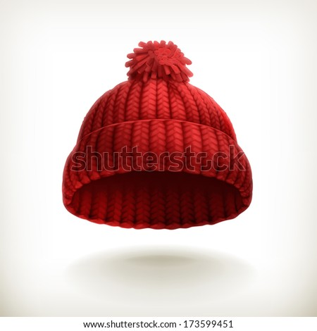 Knitted red cap, bitmap copy - stock photo