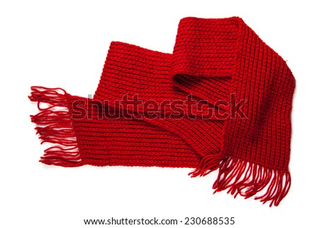 knitted red scarf with fringe  - stock photo