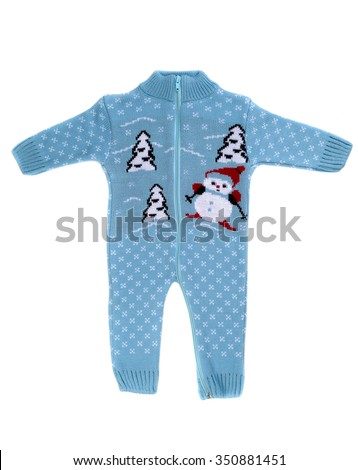 Knitted rompers with snowman pattern. Isolate on white. - stock photo