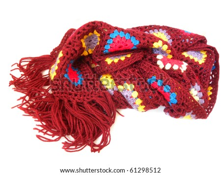 knitted scarf isolated on a white background. handwork - stock photo