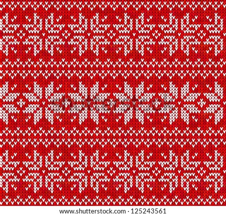 Knitted stars sweater in Norwegian style, seamless pattern. Vector version also exist. - stock photo