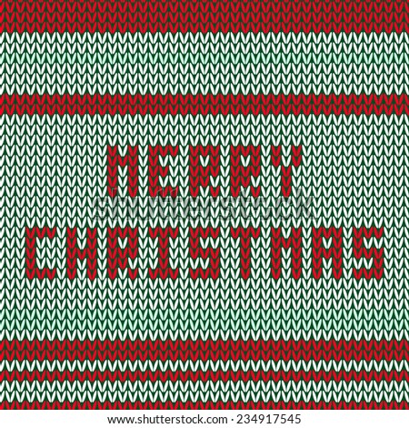 Knitted striped background with words Merry Christmas
