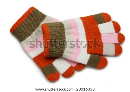 knitted winter gloves isolated on white background - stock photo