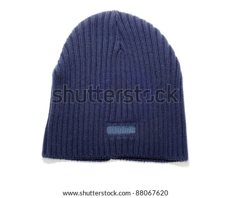 Knitted wool hat isolated on white background