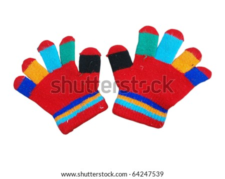 Knitted woolen children`s glove, isolated on white - stock photo