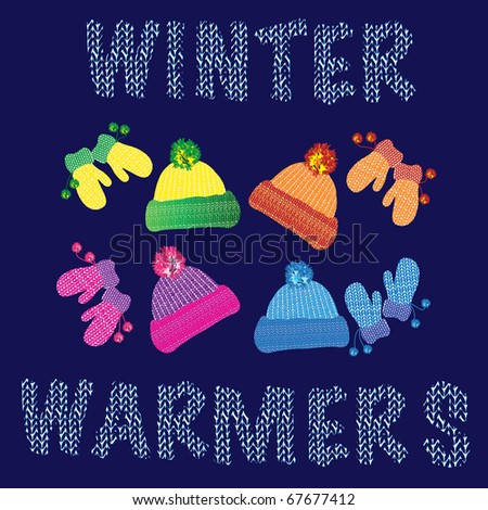 Knitted woolly children's hats and matching pairs of mittens in various colours. Also available in vector format. - stock photo