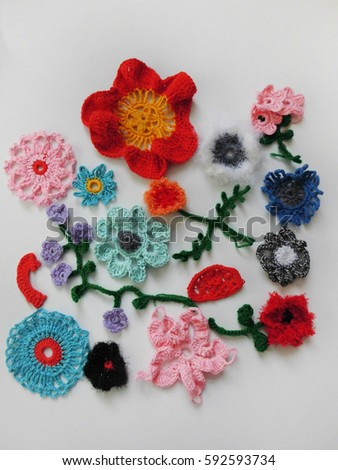 Knitting Knitted Flowers Crochet Stock Photo Image Royalty Free