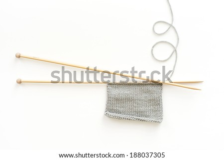 knitting needles with wool, isolated - stock photo