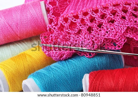 Knitting, sewing, crochet and lace - stock photo