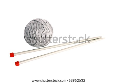 knitting with metal spokes isolated on white background - stock photo