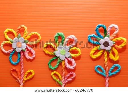 Knitting wool flower - stock photo