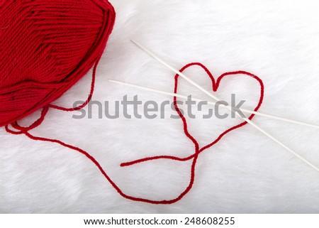 knitting wool thread - stock photo
