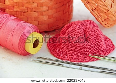 Knitting work tools background. - stock photo
