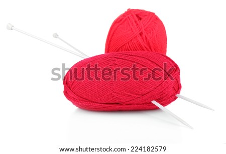Knitting yarn with knitting needles, isolated on white
