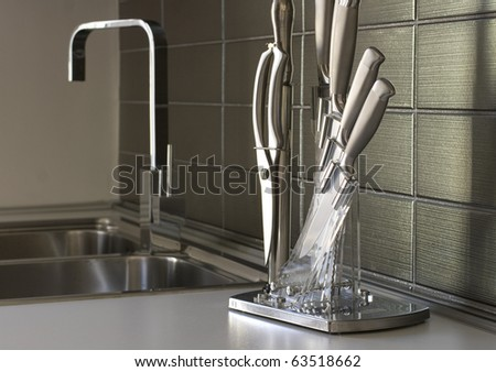 knives in the kitchen - stock photo