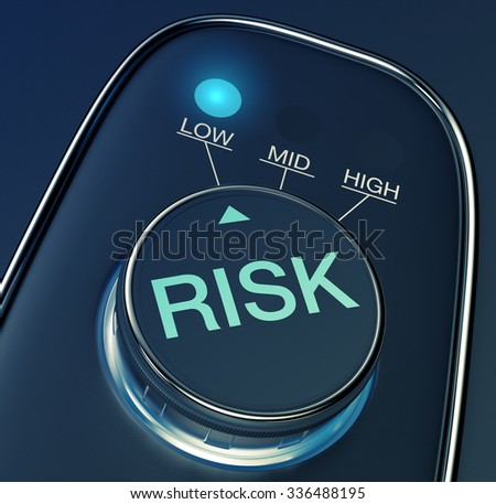 knob with concept of low risk (3d render) - stock photo