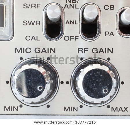 Knobs on a cb radio that control mike and rf gain - stock photo