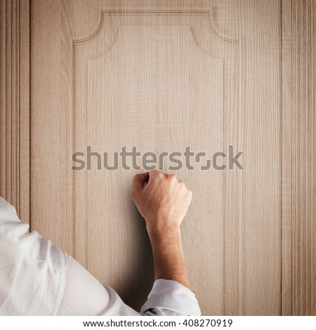 Knock door - stock photo