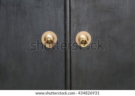 knocker and  wood door  - stock photo