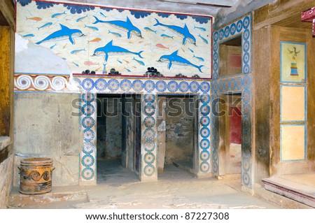 Knossos interiors, Crete, Greece - stock photo