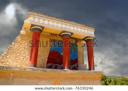 Knossos palace at Crete, Greece Knossos Palace, is the largest Bronze Age archaeological site on Crete and   the ceremonial and political centre of the Minoan civilization and culture. - stock photo