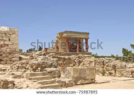 Knossos palace, center of the Minoan civilization and culture at Crete, Greece.- scenic view - stock photo