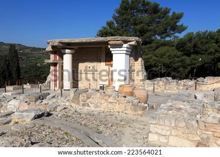 Knossos Palace Ruins, Heraklion Crete, Greece - stock photo