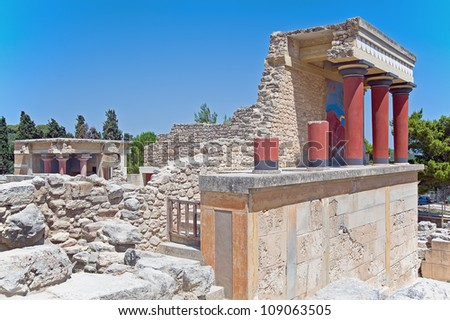 Knossos, the archaeological site in Heraklion, Crete, Greece - stock photo