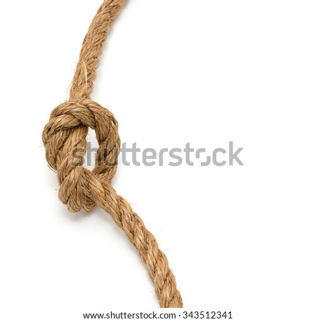 Knot on a rope, isolated on white - stock photo