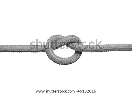 Knot on the rope isolated on the white background.