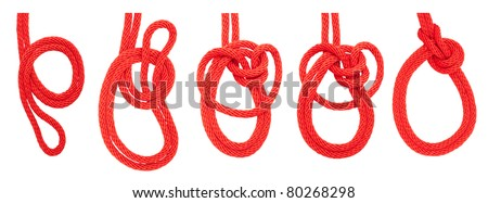 knot series :  bowline on a bight for scout army sailor secure survival camping and education or printing - stock photo