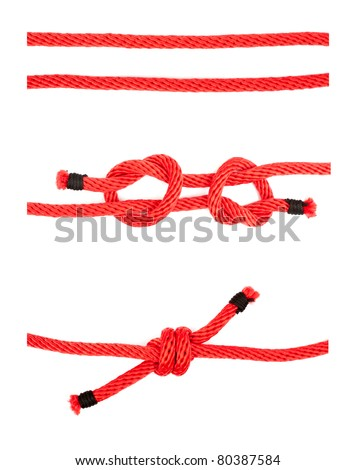 knot series : fisherman's knot usage in order to combined ropes together suitable for scout army sailor secure survival camping and education or printing - stock photo