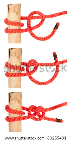 knot series :  round turn and two half hitch for scout army sailor secure survival camping and education or printing - stock photo