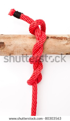 knot series : timber hitch usage in order to fastening long  cylindrical subject and fastening boat with the pole,easy unleash suitable for scout army sailor survival camping and education or printing - stock photo
