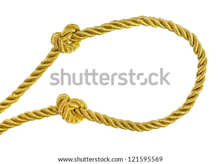 Knots on gold rope isolated on white background - stock photo