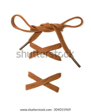 knotted shoelace on a white background