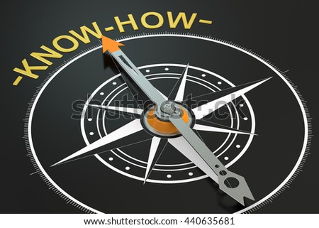 Know-How compass concept, 3D rendering - stock photo