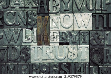 know, like, trust crossword concept made from metallic letterpress blocks on letters background - stock photo