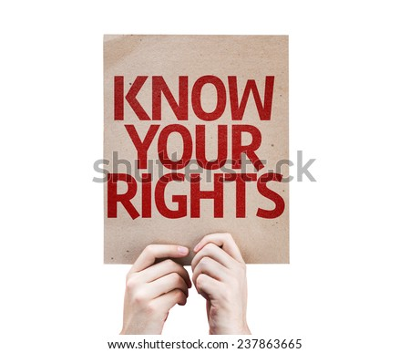 Know Your Rights card isolated on white background - stock photo