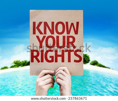 Know Your Rights card with a beach on background - stock photo